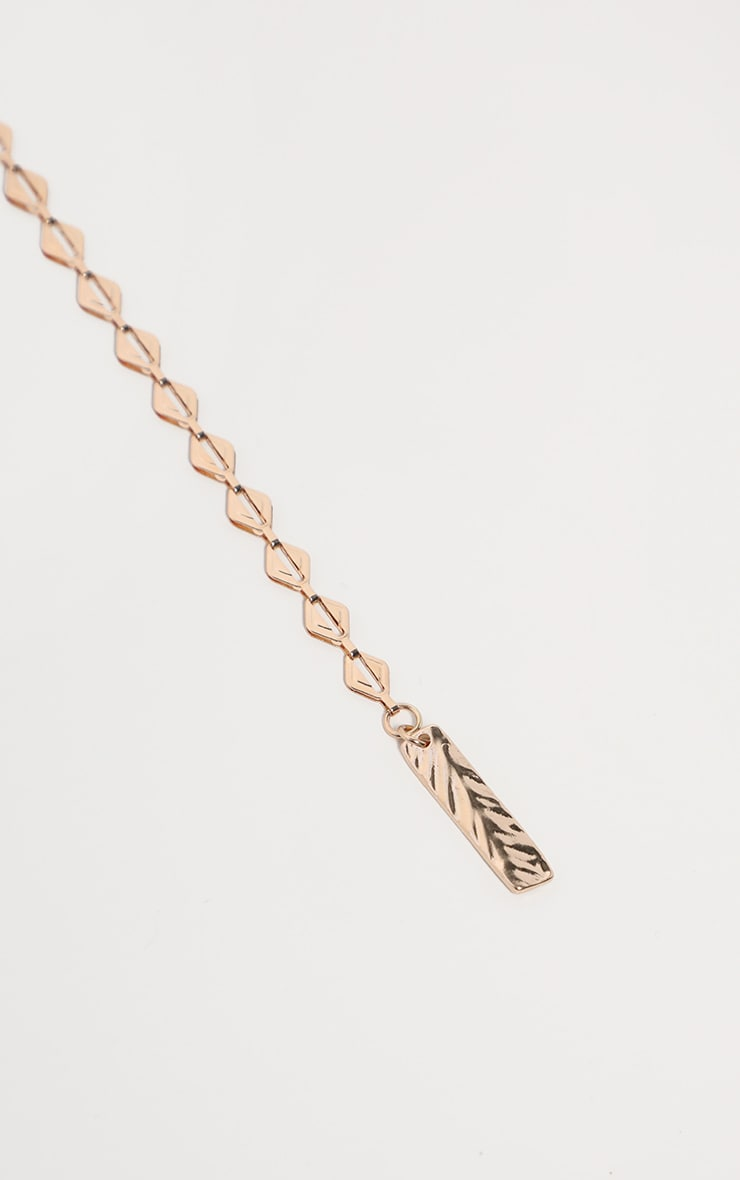 Gold Triangle Links Lariat Necklace 4