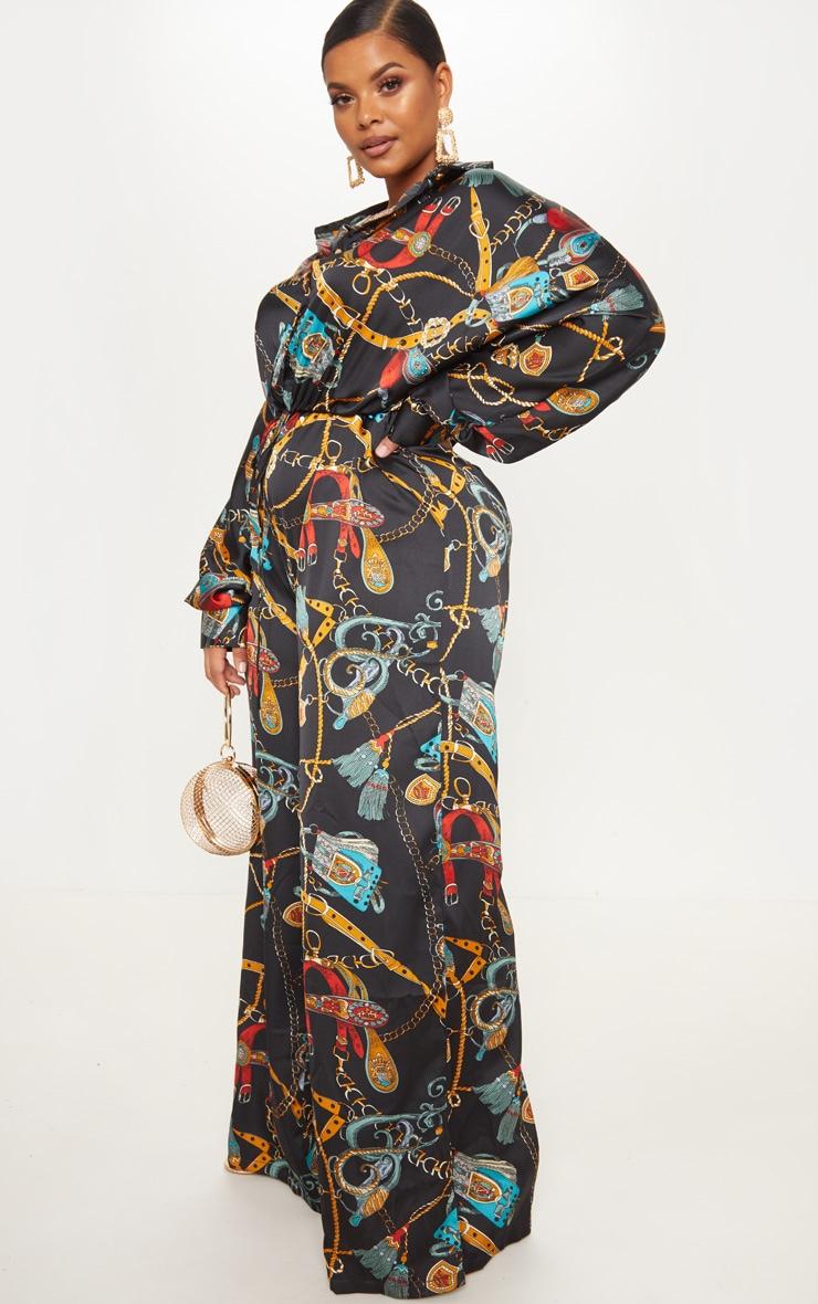 Plus Black Satin Chain Print Tie Waist Wide Leg Jumpsuit 4