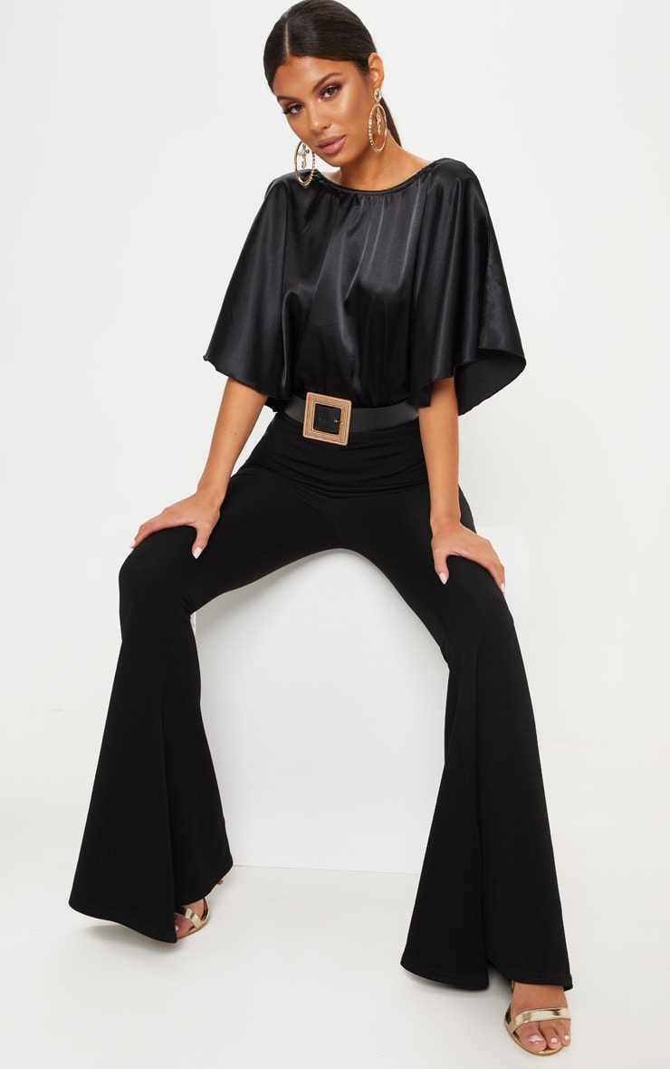Black Satin Batwing Bodysuit 5
