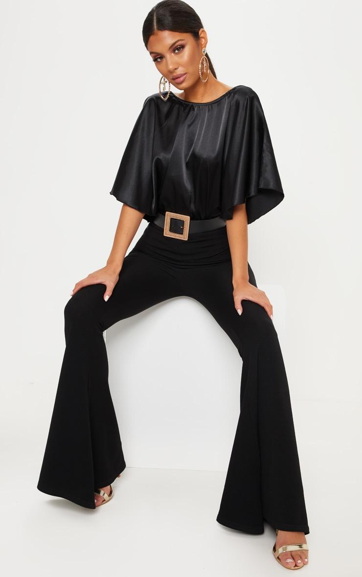 Black Satin Batwing Bodysuit 5