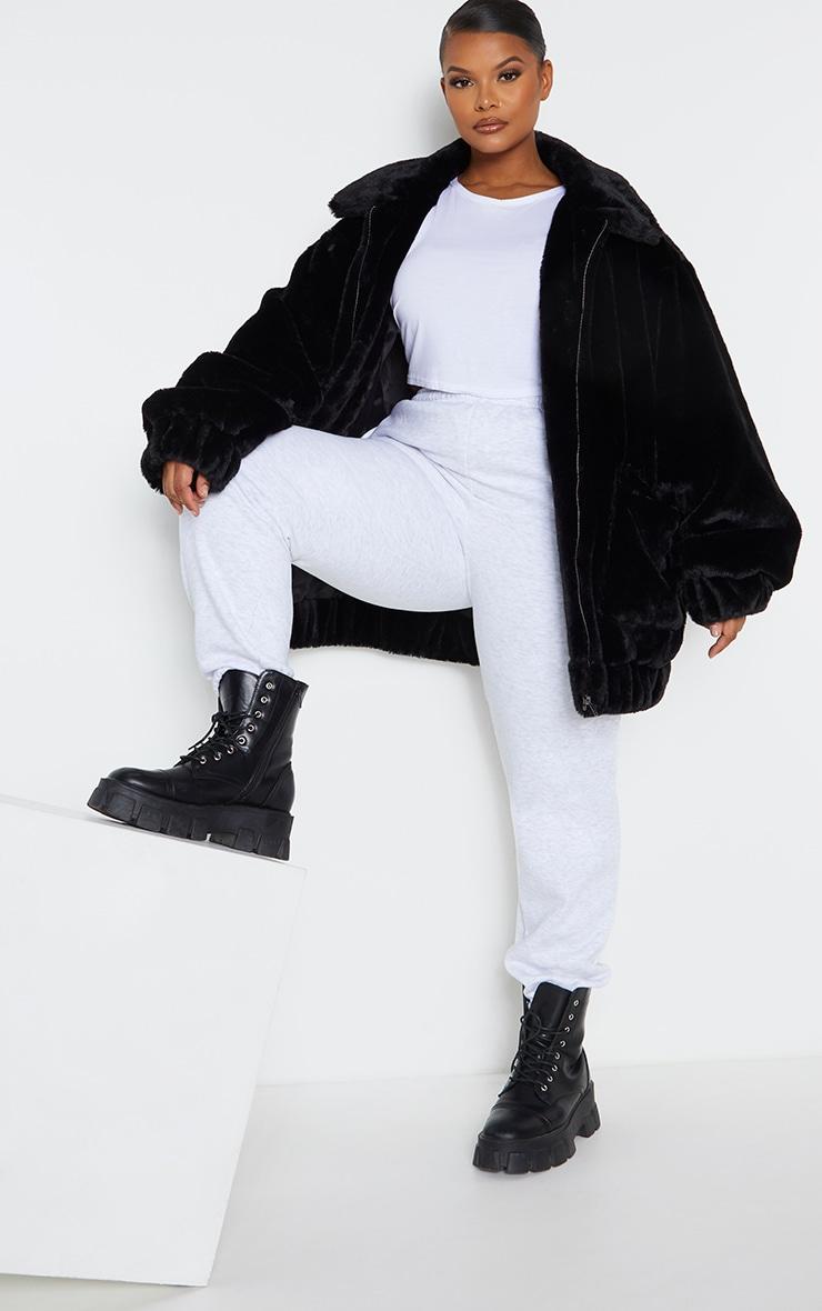 Plus Black Pocket Front Faux Fur Coat 1