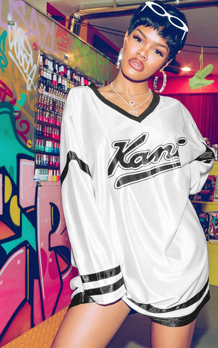 KARL KANI White Baseball Dress 1