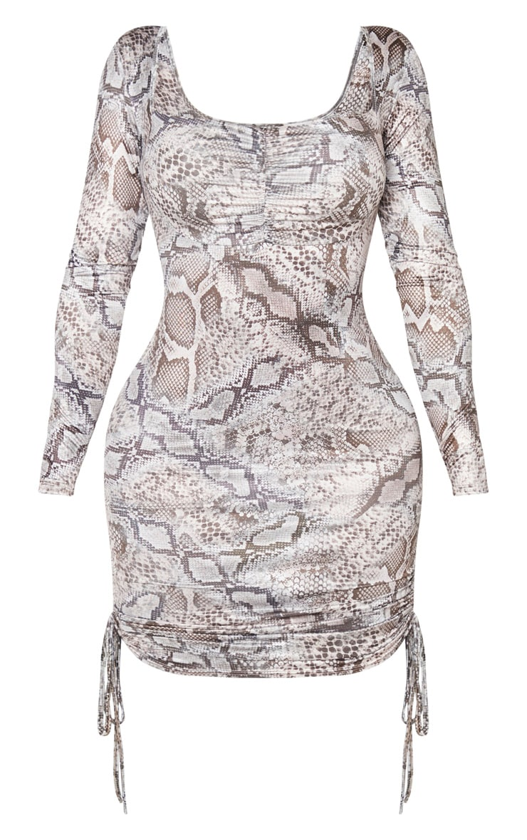 Shape Taupe Snake Print Ruched Detail Long Sleeve Bodycon Dress 3