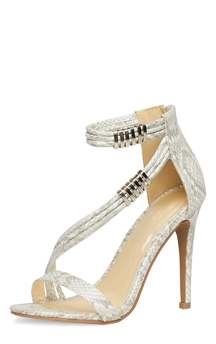 Riley Snake Cross Strap Heeled Sandals 4