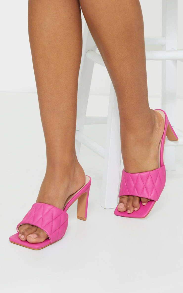 Pink Extreme Square Toe Quilted Strap Mule Heel 2