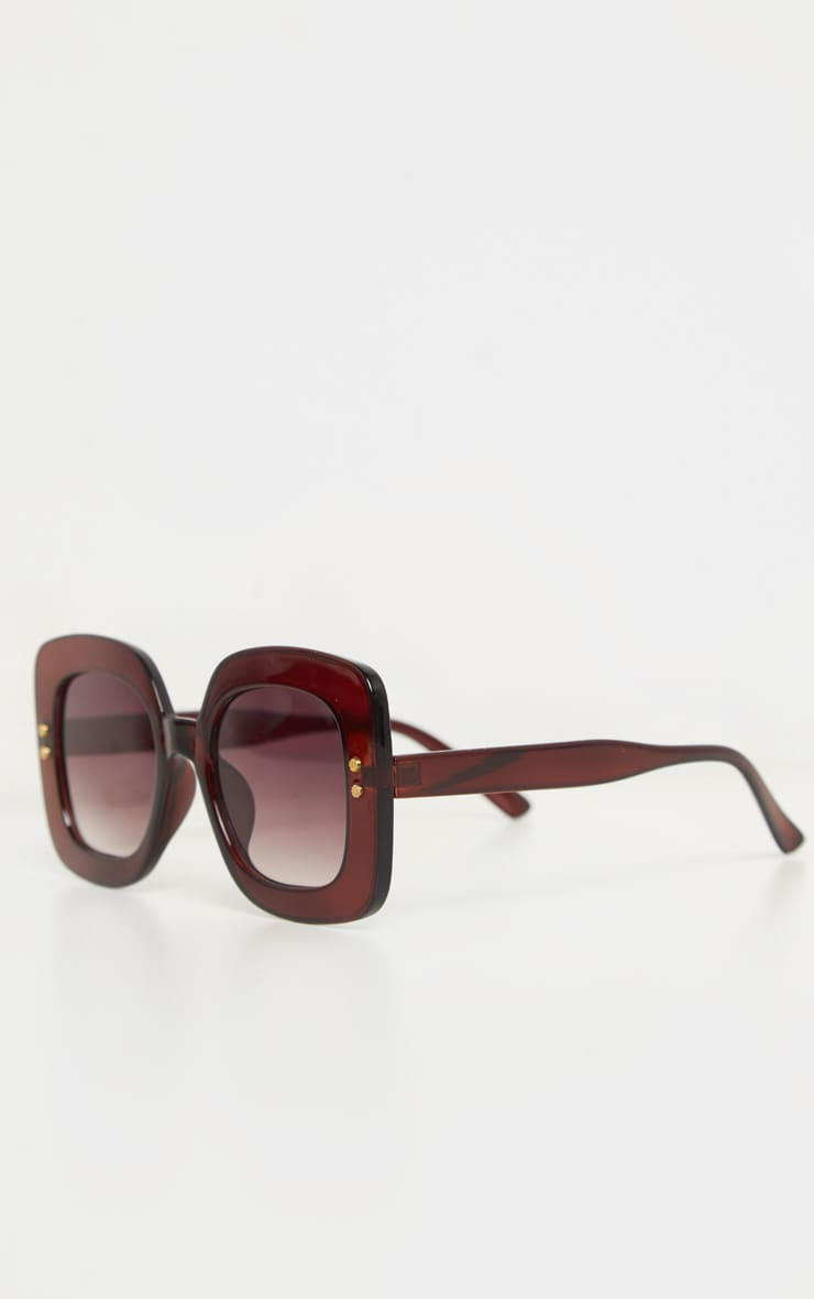 Brown Square Oversized Sunglasses 4