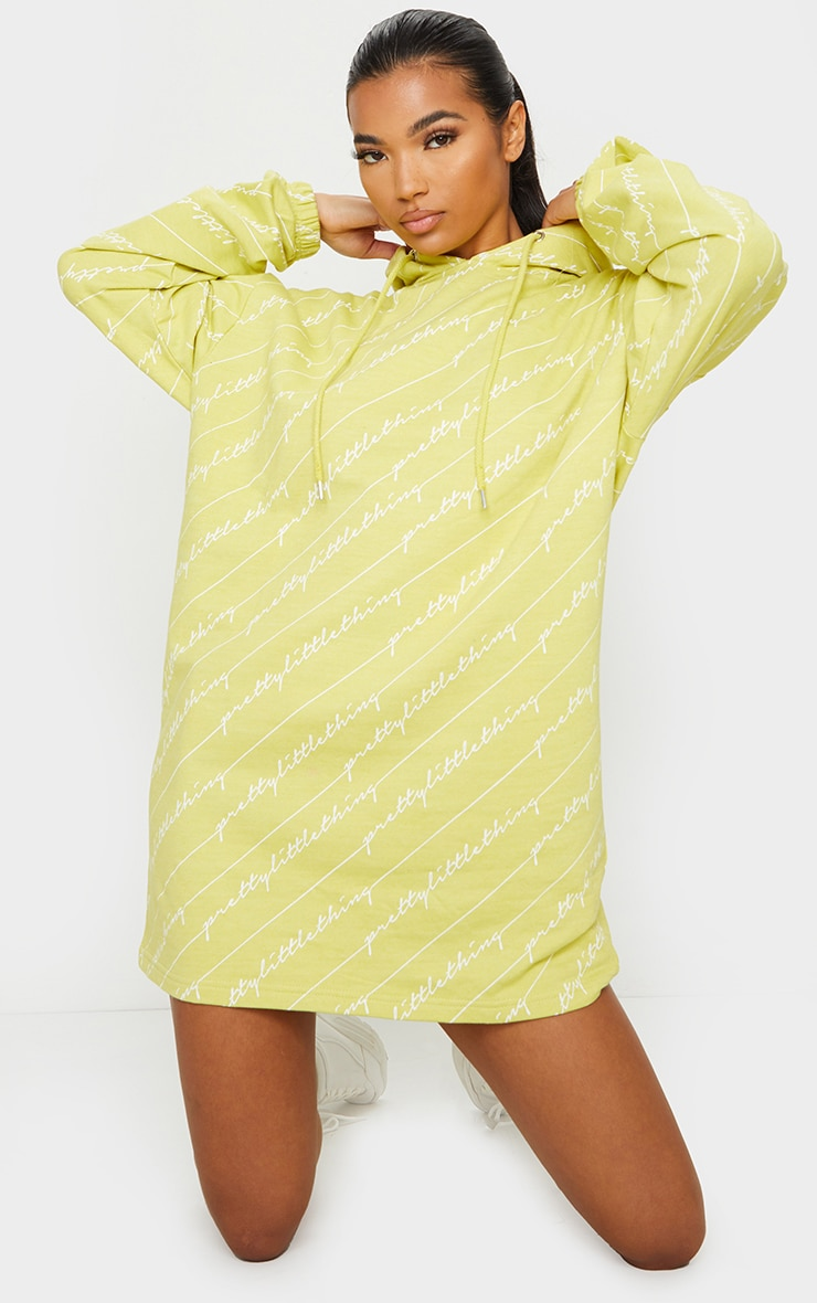 PRETTYLITTLETHING Lime Slogan Hoodie Dress 1