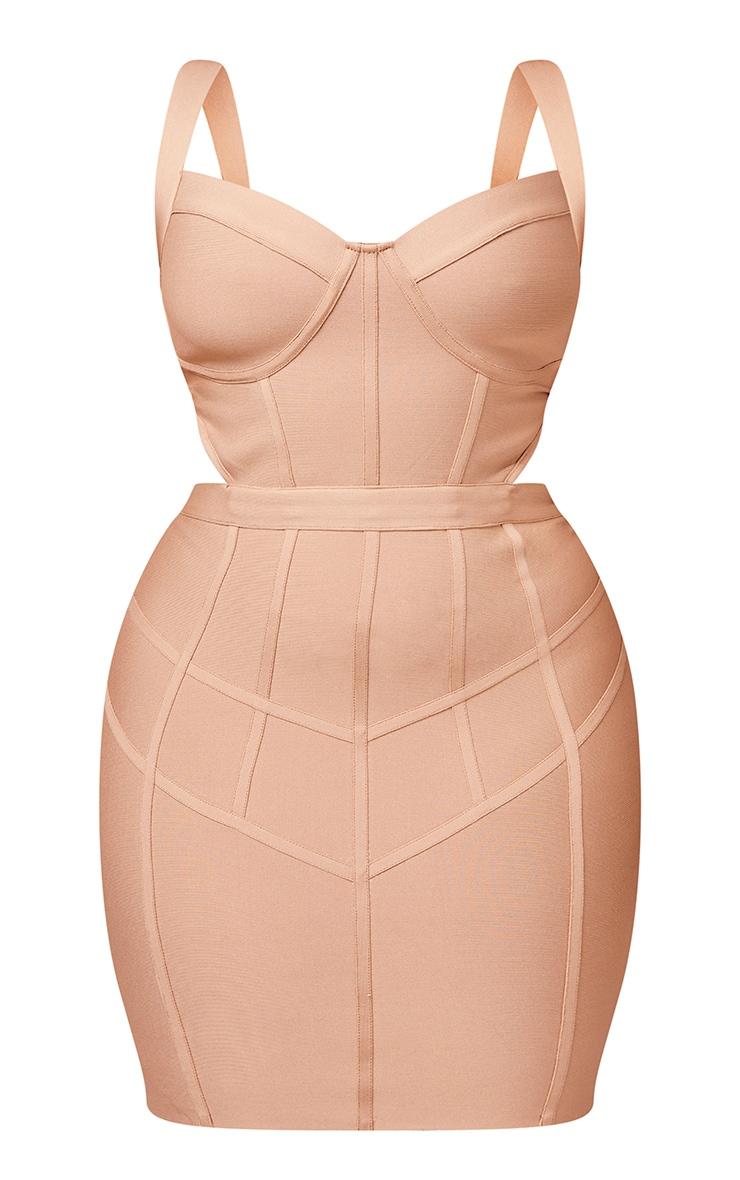 Plus Stone Bandage Waist Cut Out Panelled Bodycon Dress 5