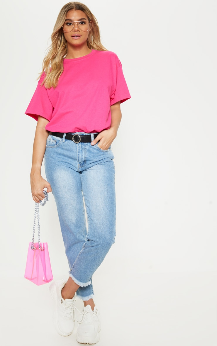 Hot Pink Oversized Boyfriend T Shirt 4