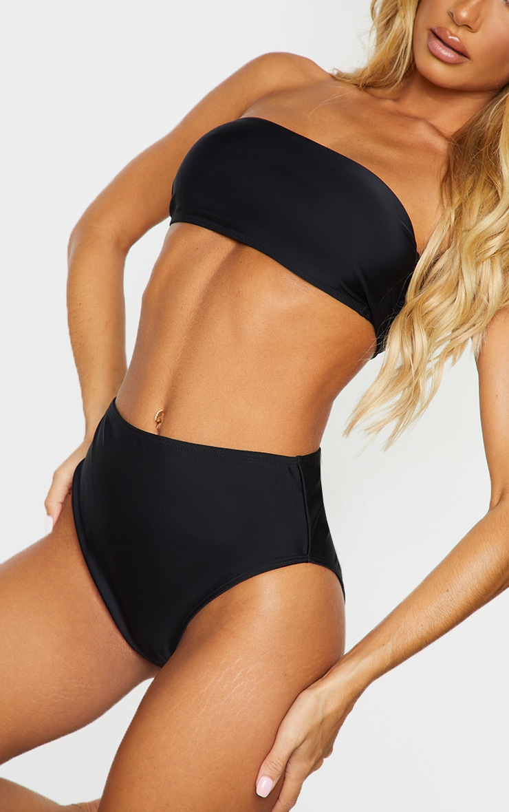 Black Mix & Match Recycled Fabric Bandeau Bikini Top 4