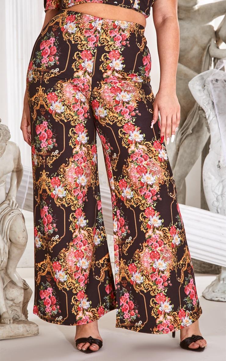 Plus Black Floral Print Wide Leg Trousers 2