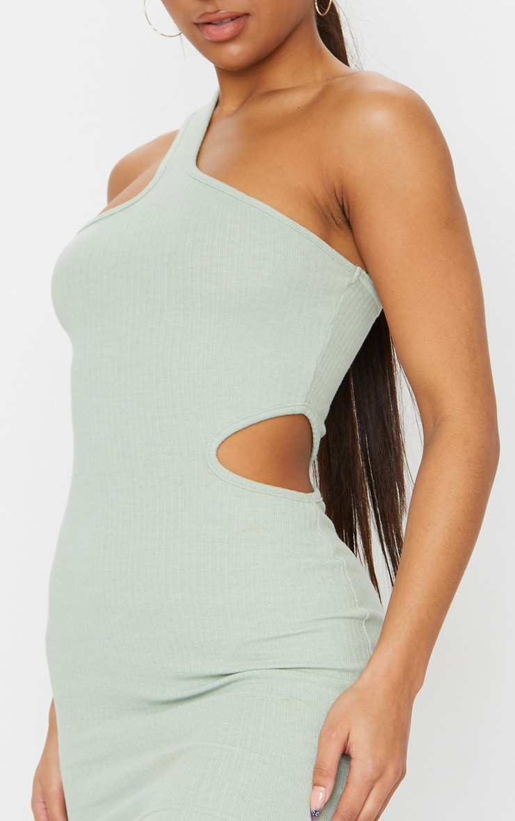 Sage Green Rib One Shoulder Cut Out Detail Bodycon Dress 4