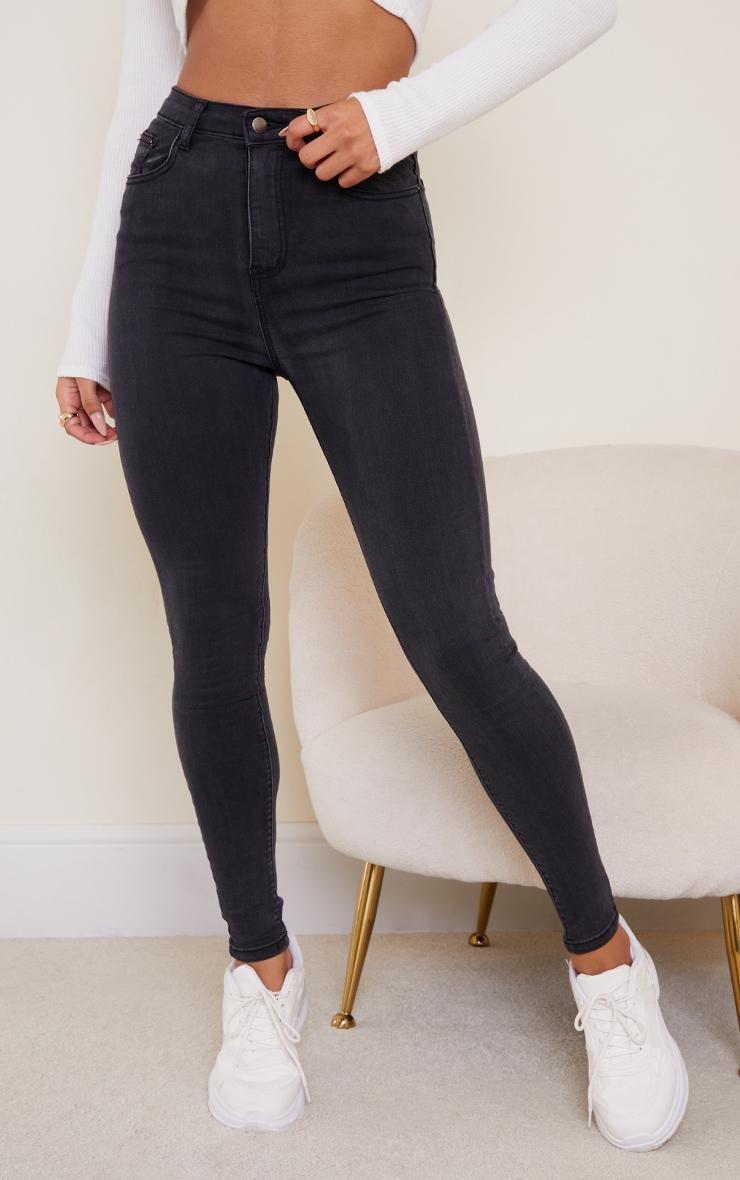 PRETTYLITTLETHING Washed Black 5 Pocket Skinny Jean 2
