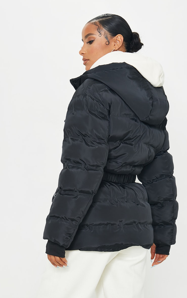 Black Quilted Belted Cuffed Sleeve Puffer Coat. 2