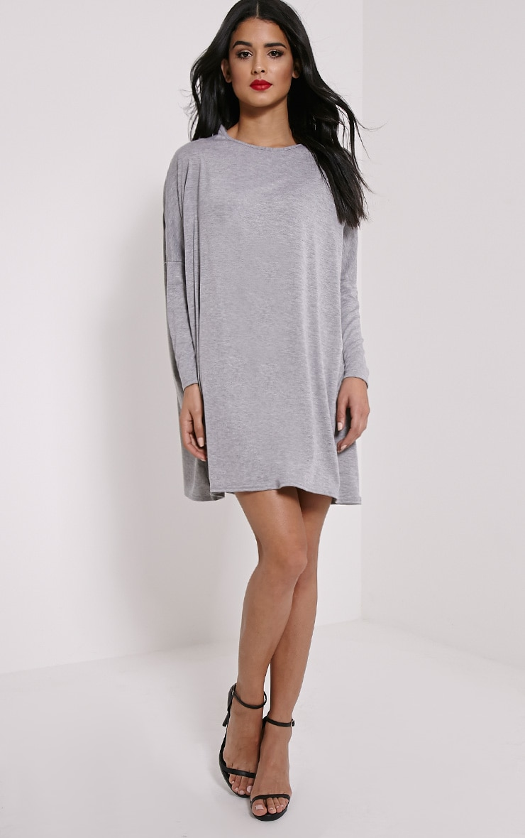 Basic Grey Marl Long Sleeve Jersey Dress 3