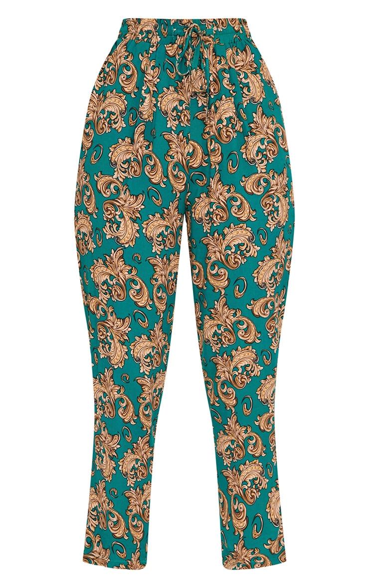 Emerald Green Chain Print Casual Trousers 3