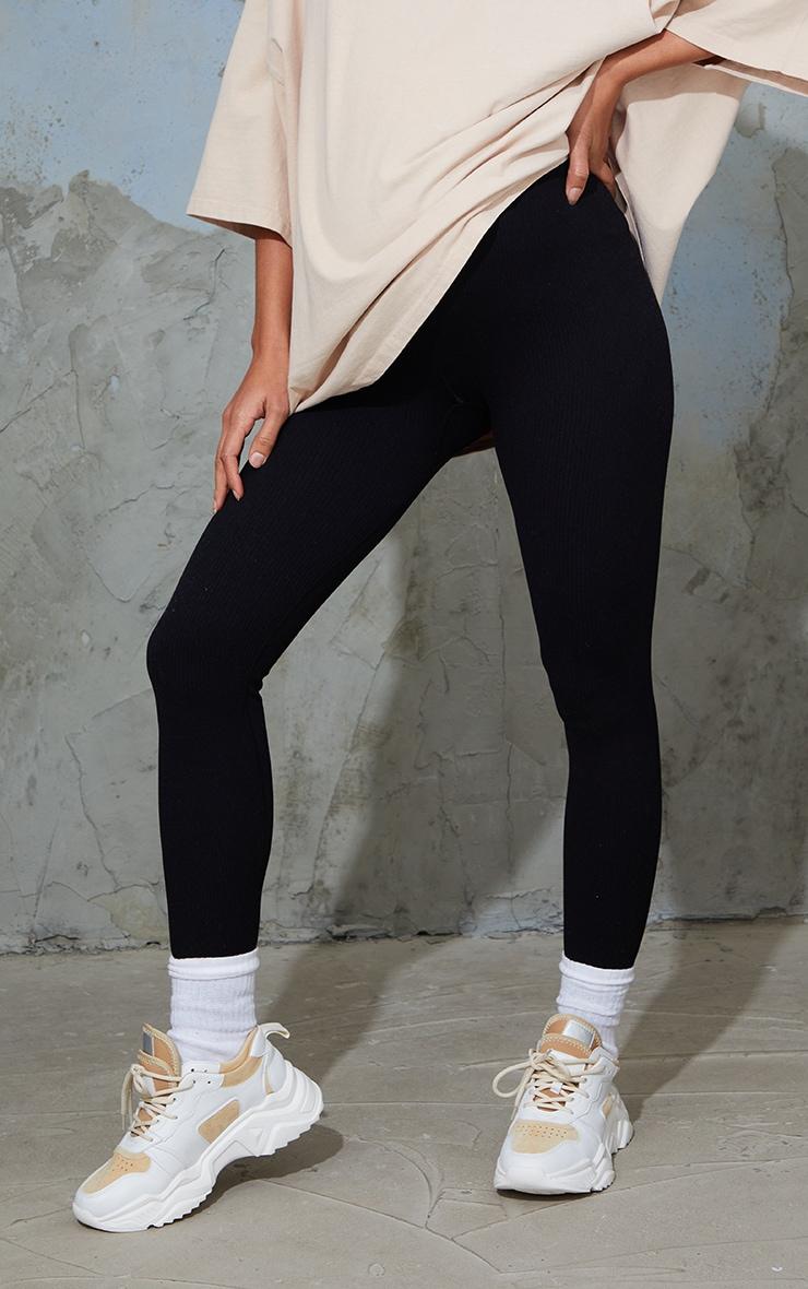 Maternity Black Contour Ribbed Bump Support Leggings 2