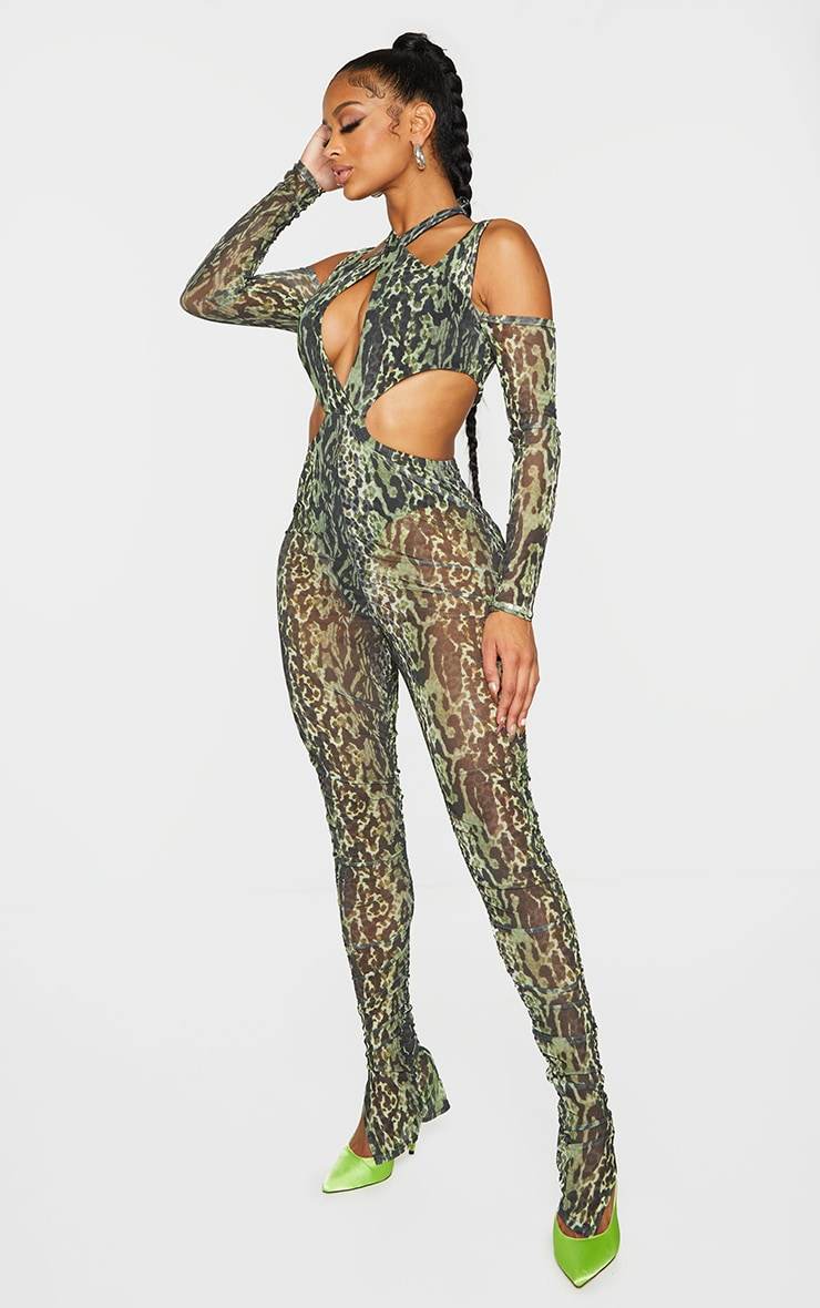 Shape Green Animal Print Mesh Halterneck Cut Out Jumpsuit 3