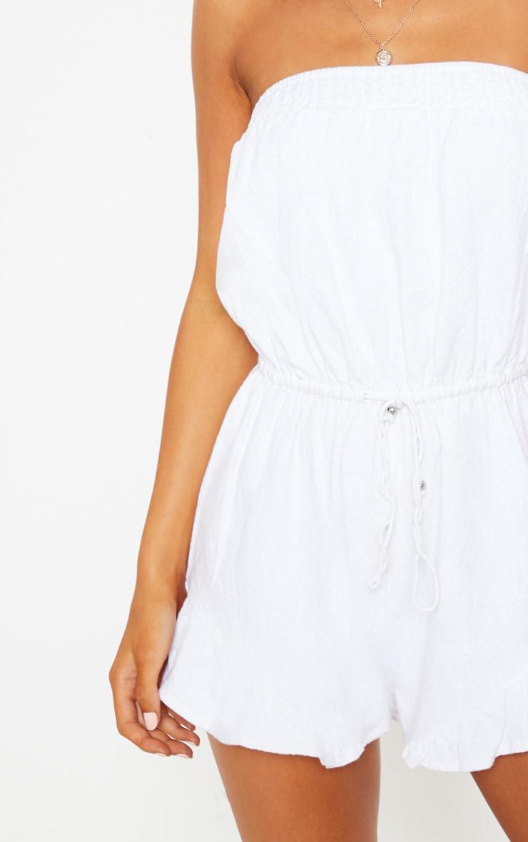 White Tie Waist Bandeau Romper 5