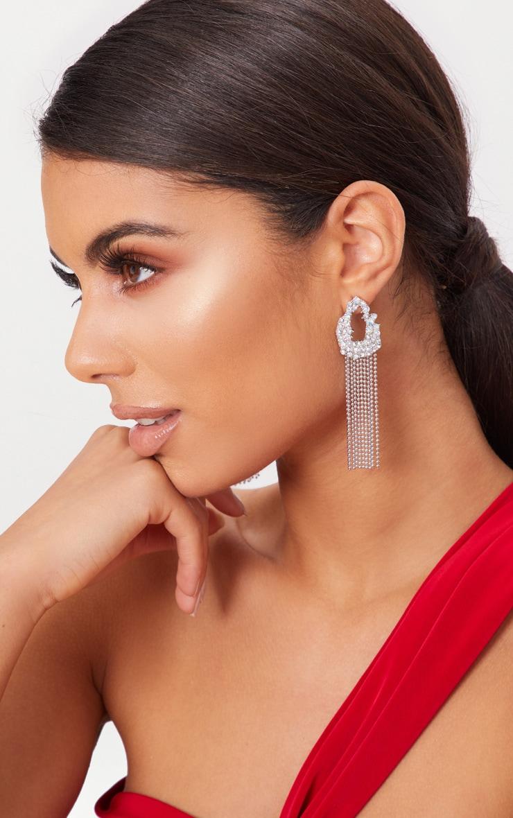 Silver Diamante Circle Chain Tassel Earrings 3