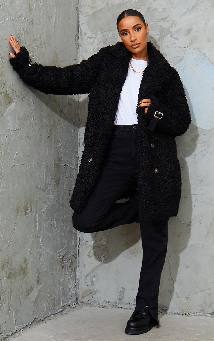Black Curly Faux Fur Coat 3