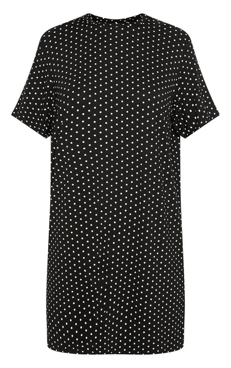 Black Polka Dot Oversized T Shirt Dress 4