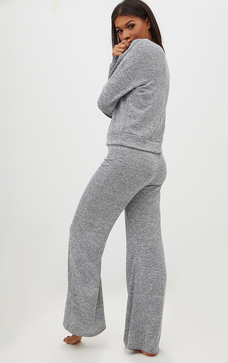 Grey Marl Knit Wide Leg Lounge Set 2