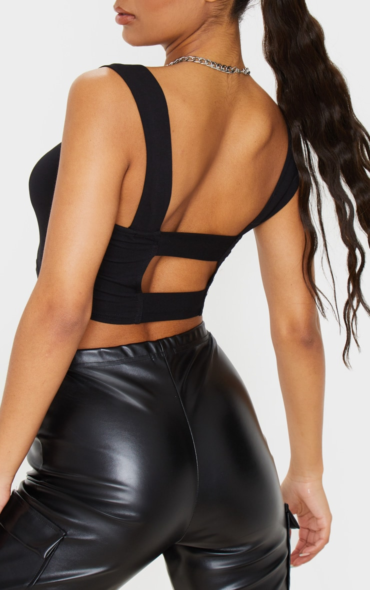 Black Jersey Strappy Cut Out Crop Top 5