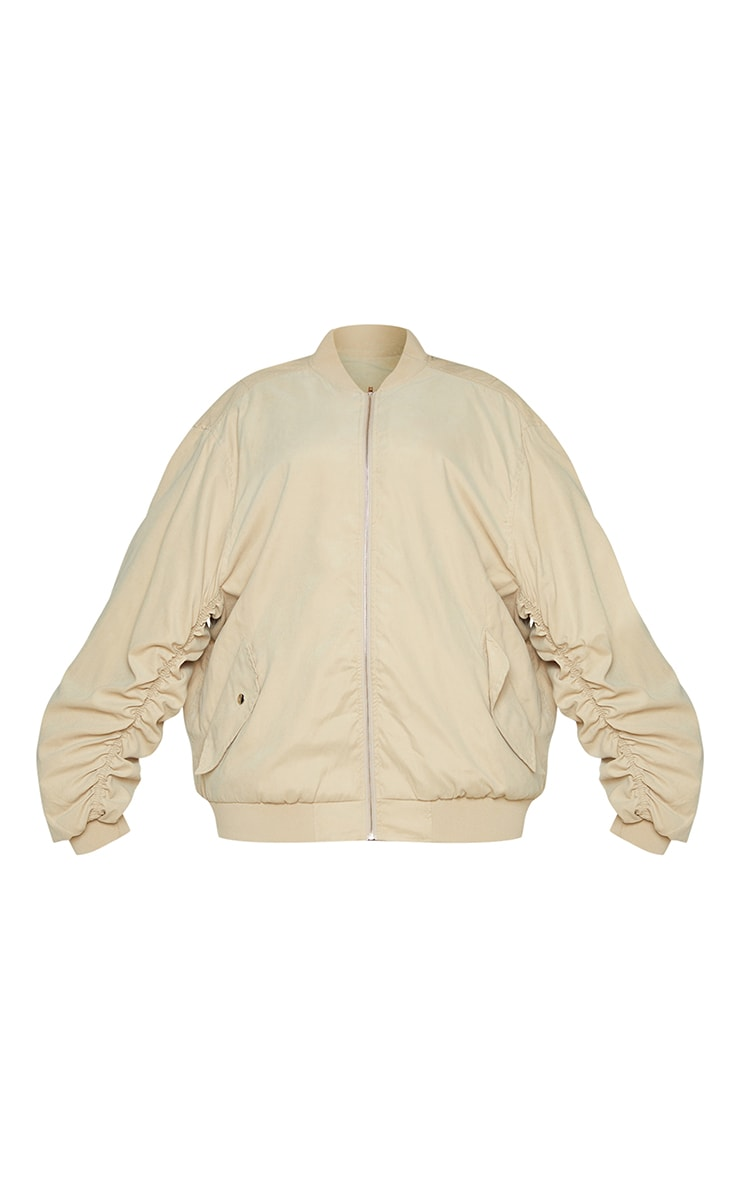 Plus Stone Peach Skin Oversized Ruched Sleeve Bomber Jacket 5