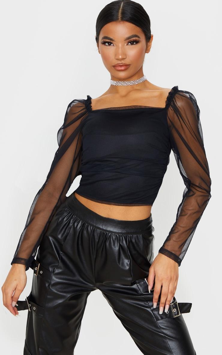 Crop top en mesh noir à manches froncées détail coutures 1