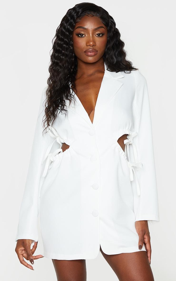 White Cut Out Waist Detail Button Down Blazer Dress 1