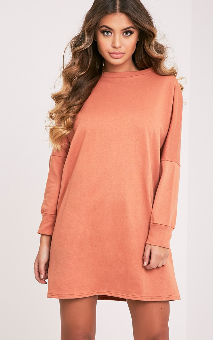 Laine Deep Peach Oversized Sweater Dress 1