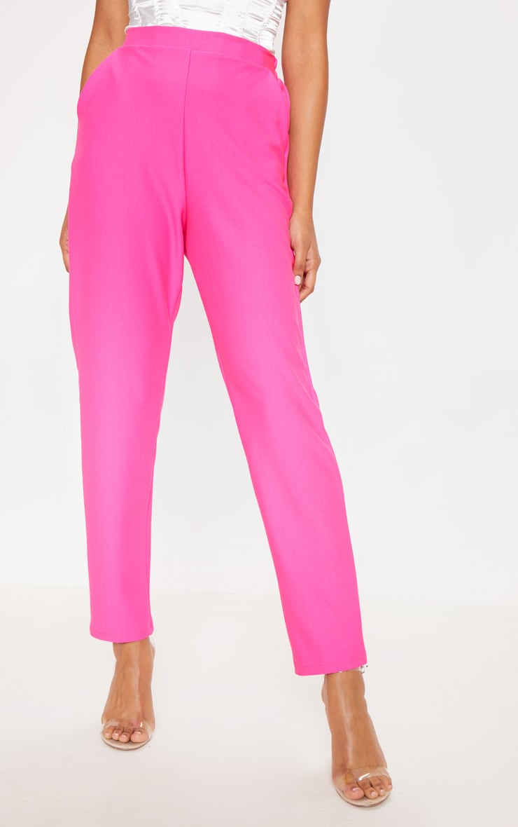 Bright Pink Woven Formal Elasticated Waist Skinny Pants 2