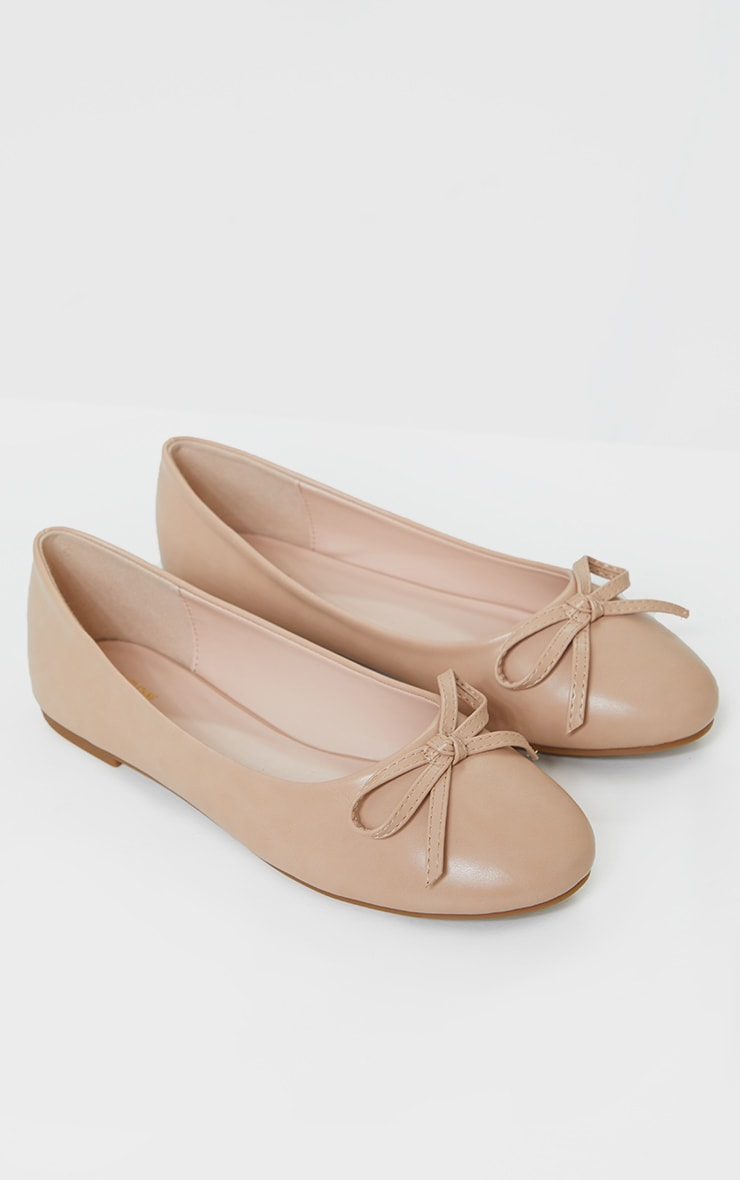 Nude Wide Fit PU Round Toe Ballet Shoes 3