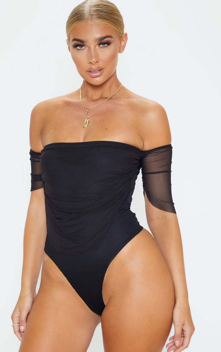 Black Mesh Ruched Bardot Bodysuit 2