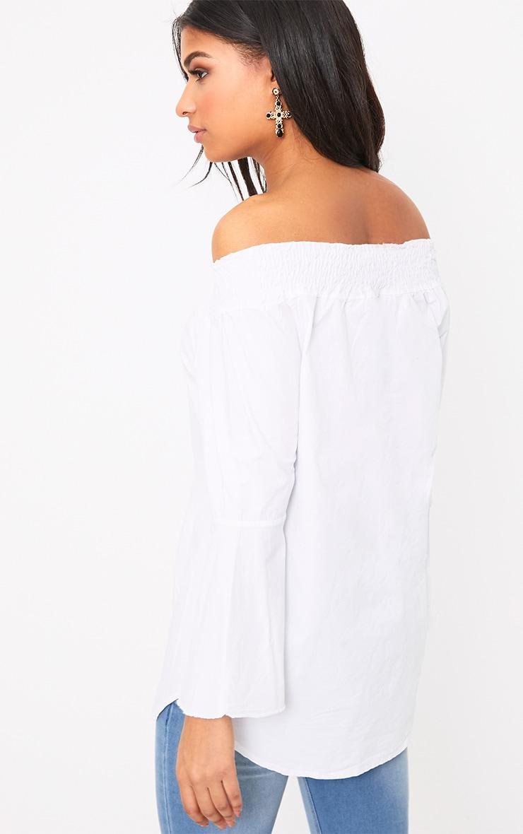 Nairi White Floral Applique Bardot Tunic 2