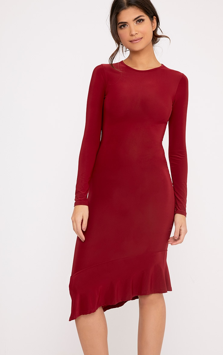 Arlo Burgundy Slinky Asymmetric Drop Frill Hem Midi Dress 1
