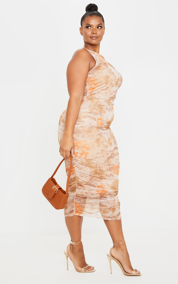 Plus Nude Rennaisance Print Sleeveless Midi Dress 4