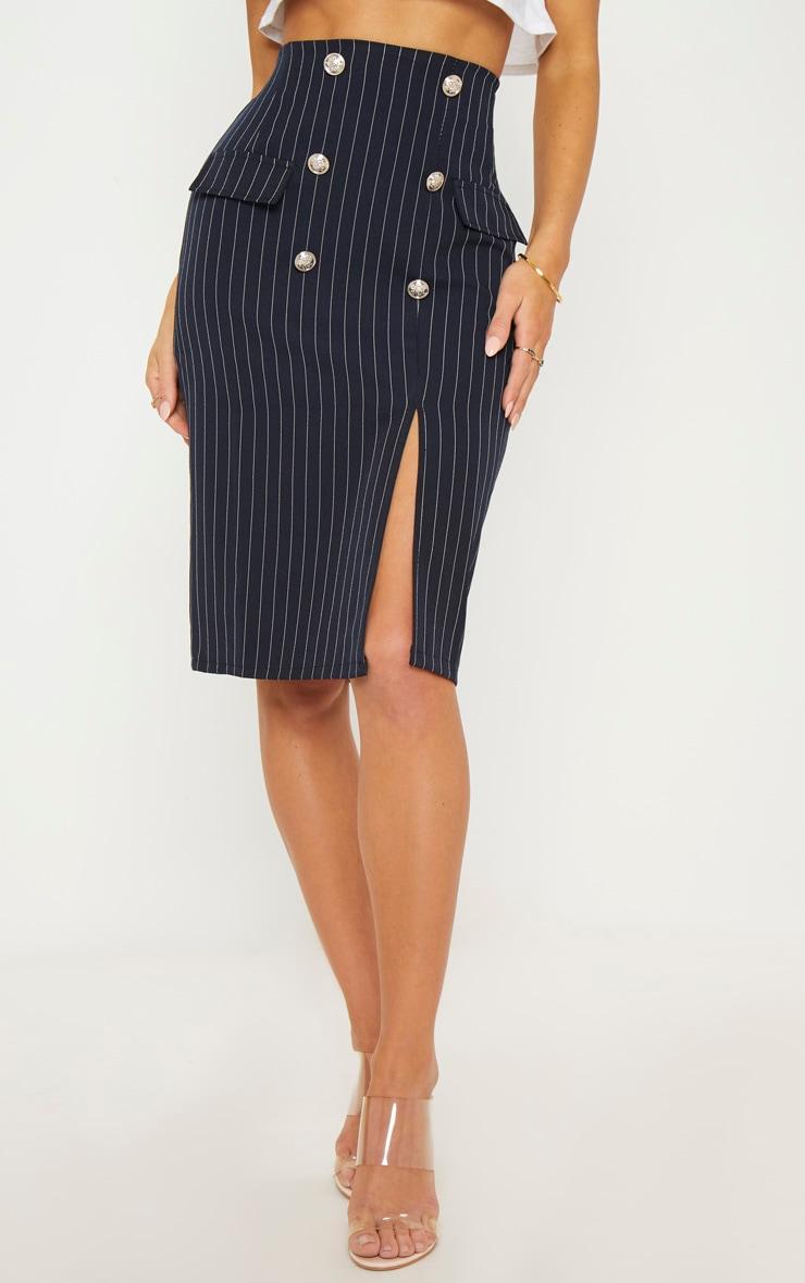Navy Military Pinstripe Midi Skirt 2