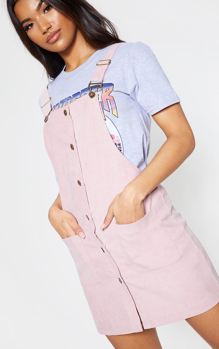 Blush Corduroy Buckle Front Pinafore Dress 5