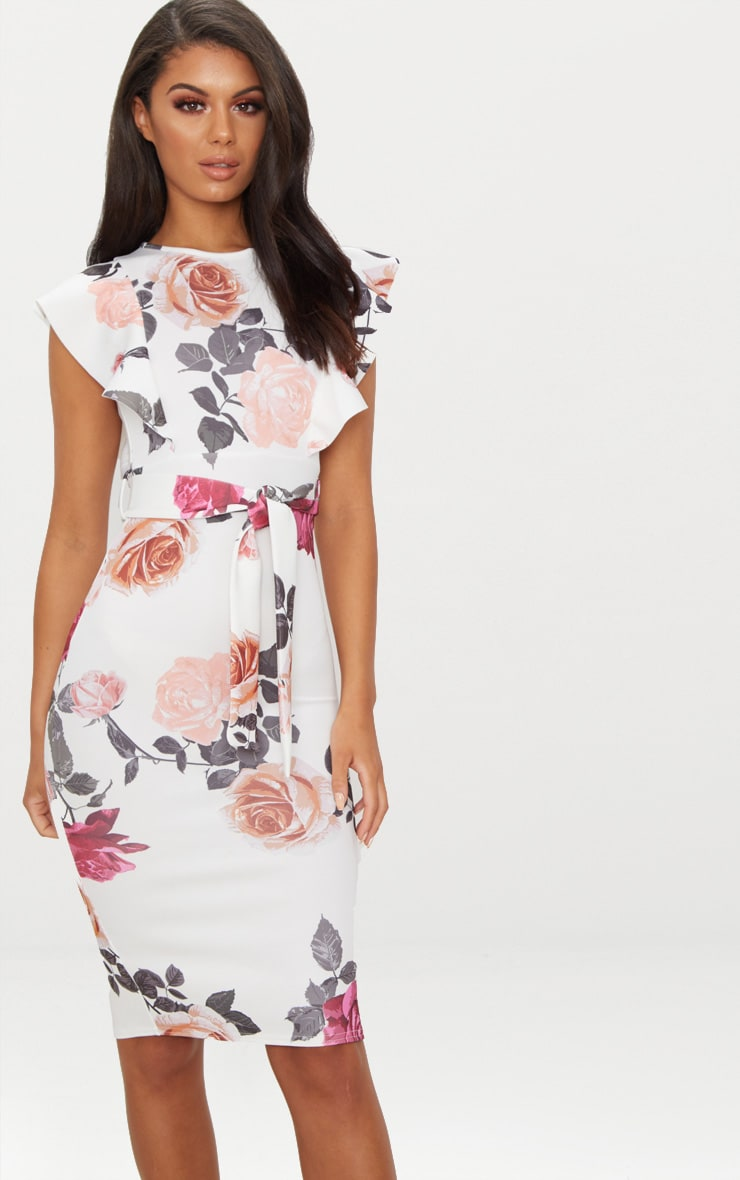 White Floral Print Frill Detail Midi Dress 4