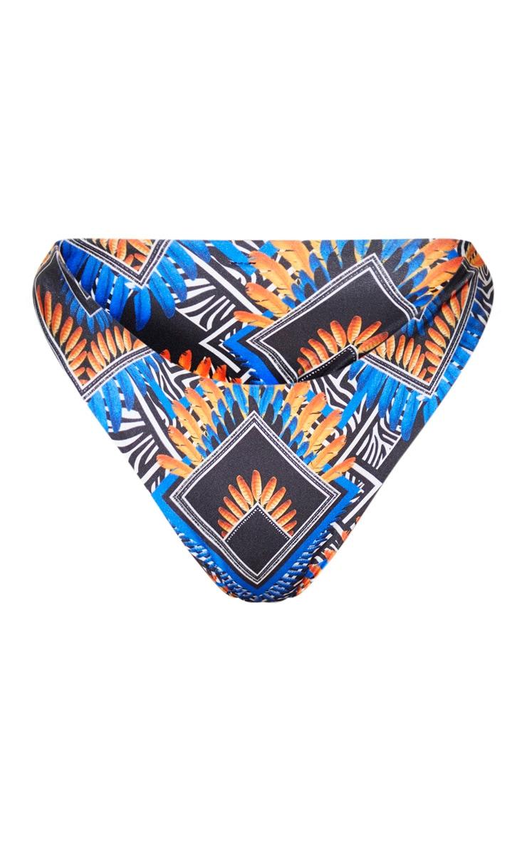 Blue Tribal Super High Leg Brazilian Bikini Bottom 6