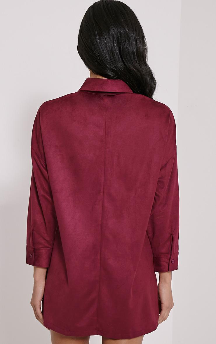 Primula Plum Faux Suede Shirt Dress 2