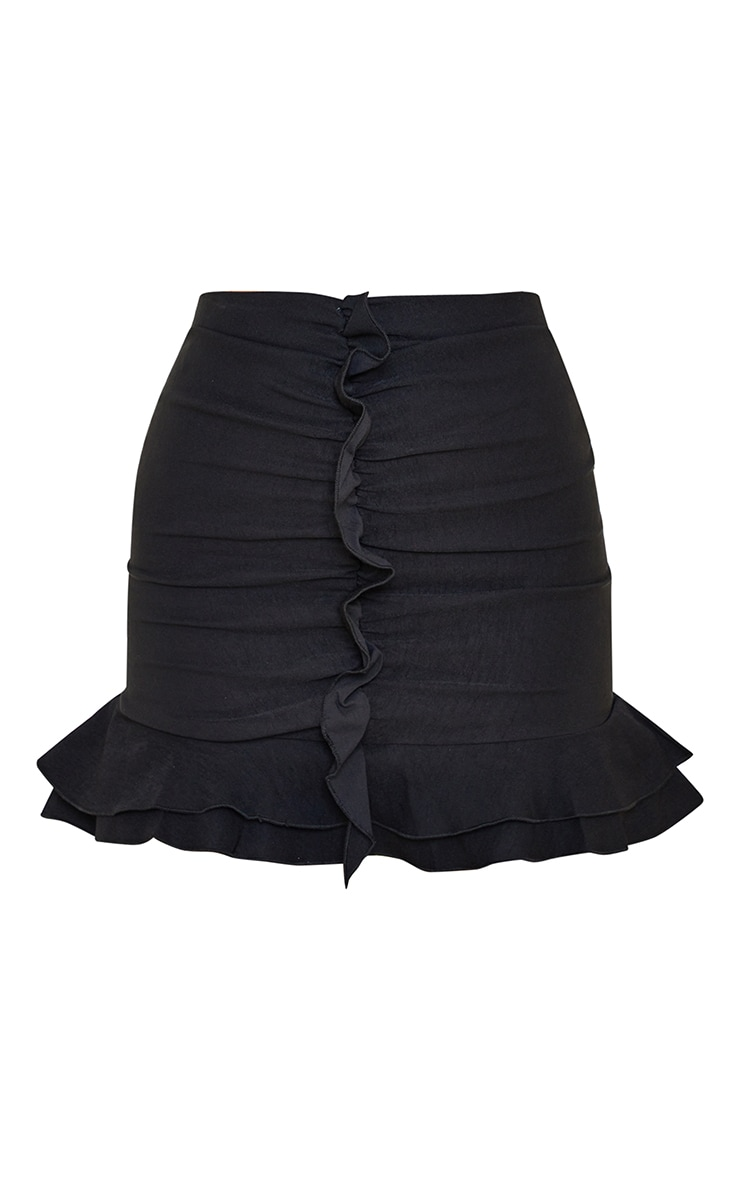 Black Woven Stretch Frill Ruched Front Mini Skirt 6