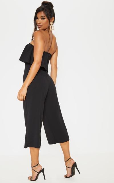 Black Bardot Double Layer Culotte Jumpsuit