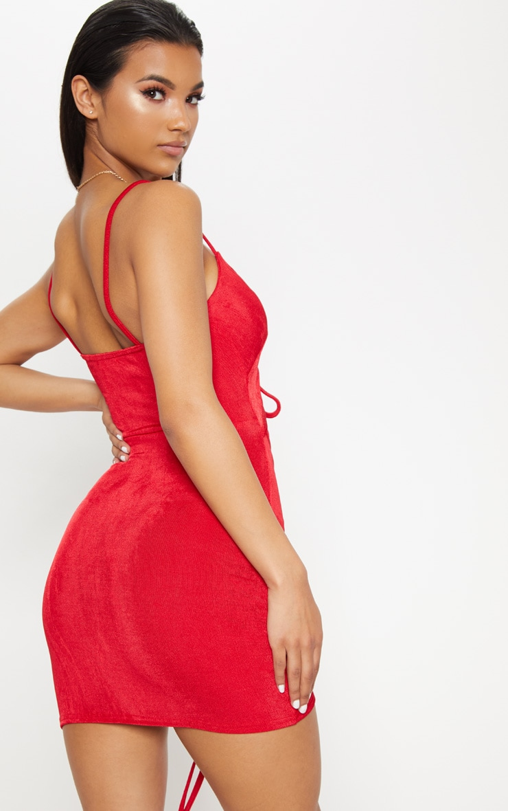 Red Sleeveless Ruched Cut Out Bodycon Dress 2