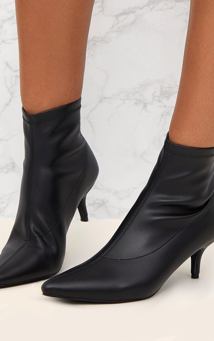 Black PU Low Heeled Ankle Boots 5