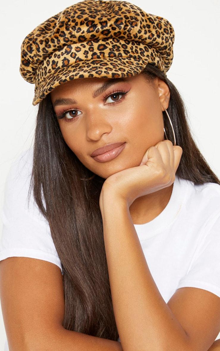 Leopard Print Baker Boy Hat 1
