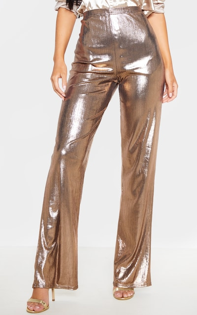 Bronze Metallic Straight Leg Trouser