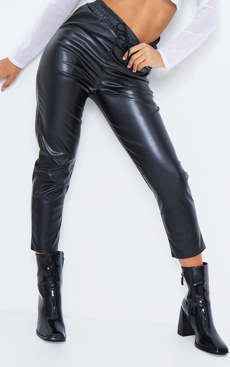 Black Faux Leather Crop Skinny Pants 3